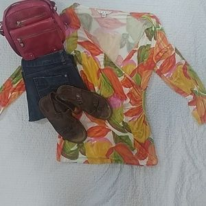 CABI floral cross over blouse size XL